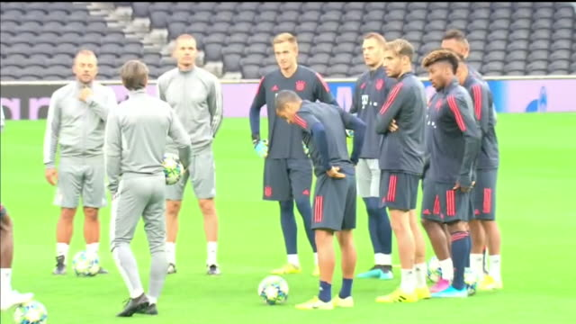 interior shots of fc bayern munich training ahead of the champions league group stage clash with tottenham hotspur on 30th september 2019 in london... - bayern stock-videos und b-roll-filmmaterial
