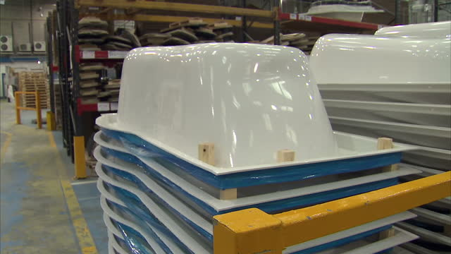 interior shots of fibreglass baths being manufactured in a bradford factory on july 24 2014 in bradford england - fibreglass stock videos and b-roll footage