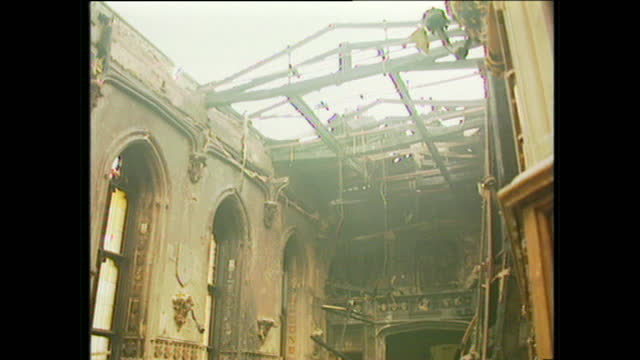 interior shots of fire damage and smoke rising from rubble inside windsor castle on november 21 1992 in windsor england - windsor england stock videos and b-roll footage
