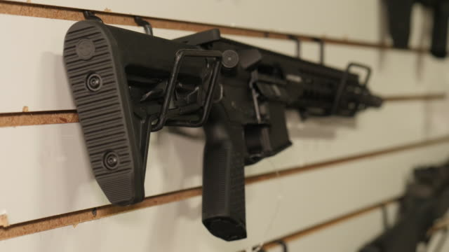 interior shots of firearms and guns in store as sales of weapon rises on 27 august 2020 in kenosha, wisconsin, united states - gun stock videos & royalty-free footage