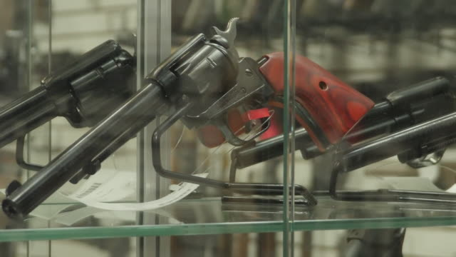 interior shots of firearms and guns in store as sales of weapon rises on 27 august 2020 in kenosha, wisconsin, united states - sale stock videos & royalty-free footage