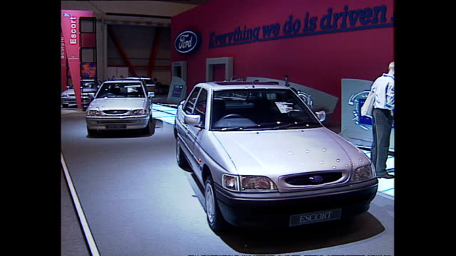Interior shots of Ford Escort cars on display at a trade stand at the London Motor Show>> on October 20 1993 in London England
