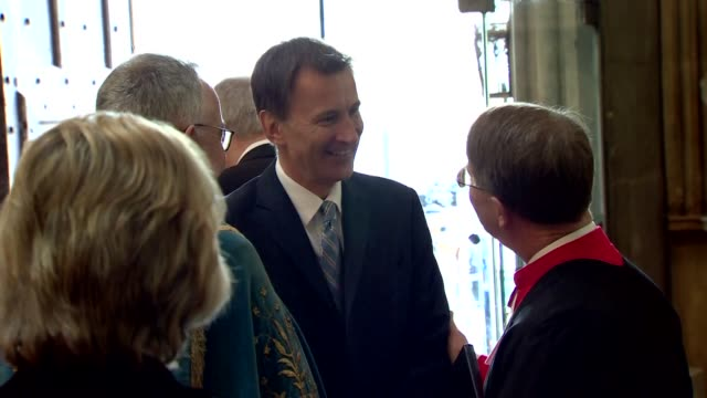 interior shots of foreign secretary jeremy hunt mp arriving at westminster abbey for anzac day service on 25th april 2019 in london, england. - mp stock videos & royalty-free footage