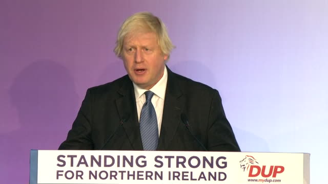 interior shots of former foreign secretary boris johnson at the dup conference talking about how britain is on the verge of making a huge mistake... - democratic unionist party stock videos & royalty-free footage