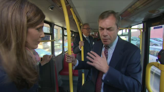 interior shots of former ukip leader nigel farage mep being interviews by sky reporter becky johnson inside the 'stop the brexit betrayal' bus on on... - mep stock videos & royalty-free footage