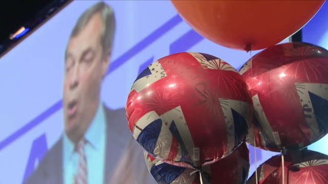 interior shots of former ukip leader nigel farage mep during his save brexit speech organised by leave means leave, part of a regional campaign... - mep stock videos & royalty-free footage