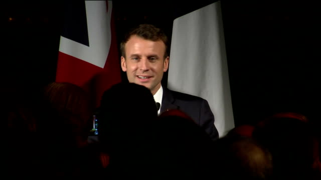 vídeos de stock e filmes b-roll de interior shots of french president emmanuel macron addressing guests at a reception at the victoria and albert museum to celebrate the relationship... - presidente