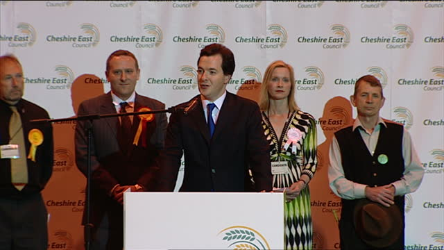 interior shots of george osborne being declared the winner of tatton constituency on may 07 2010 in knutsford england - george osborne stock videos & royalty-free footage