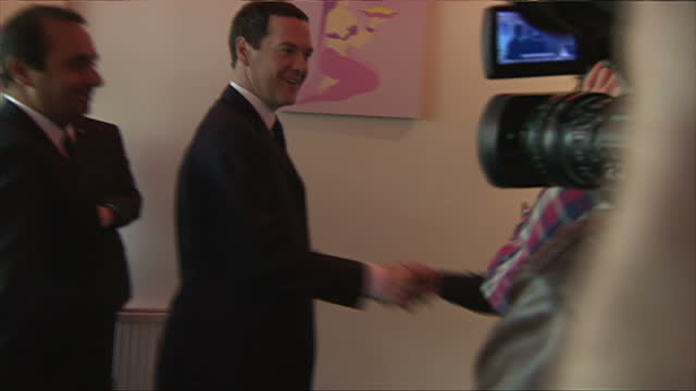interior shots of george osborne departing an indian restaurant whilst on a visit to the west midlands on april 24 2015 in birmingham england - west midlands stock videos & royalty-free footage