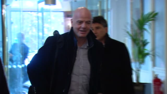 interior shots of gianni infantino fifa president arriving for ifab meeting, on 27 february 2020 in belfast, northern ireland - fifa stock videos & royalty-free footage