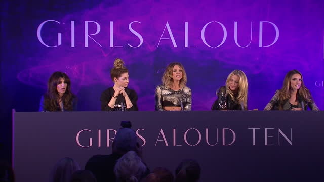 interior shots of girls aloud members cheryl cole, nicola roberts, kimberley walsh, sarah harding and nadine coyle entering press conference and... - girls stock videos & royalty-free footage