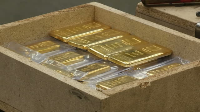 interior shots of gold bars being packed into a crate at the baird co gold and precious metals refinery on august 10 2017 in london england - ingot stock videos & royalty-free footage