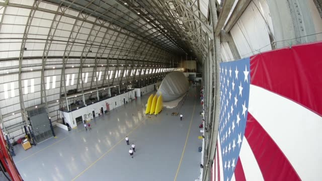 Interior shots of Goodyear's Zeppelin Airdock Hangar in Akron Ohio US The skeleton of a new blimp model sits inside Goodyear's Zeppelin airdock A...