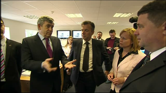 interior shots of gordon brown meeting staff at abby couriers whilst campaigning ahead of the 2010 elections on may 04, 2010 in basildon, england. - basildon stock videos & royalty-free footage