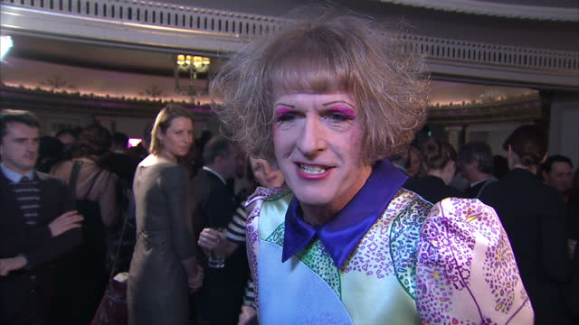 interior shots of grayson perry giving an interview at the south bank awards at dorchester hotel on march 11, 2013 in london, england. - dorchester hotel stock videos & royalty-free footage
