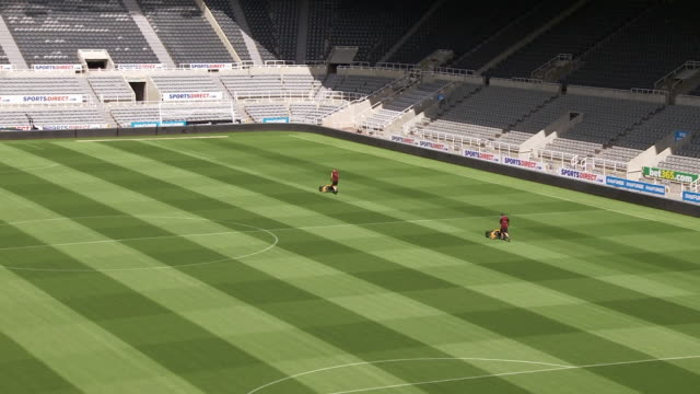 interior shots of groundstaff working on pitch at st james' park, home stadium of newcastle united fc. shot on 11 august 2017 at st james park,... - グランドキーパー点の映像素材/bロール