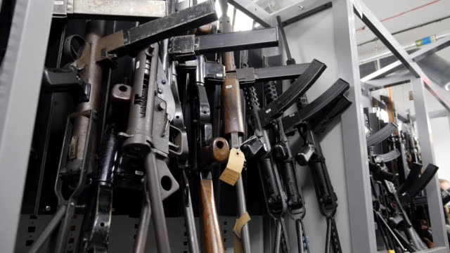 interior shots of guns and weapons sized by met police on 21th august 2020 in london, united kingdom - weaponry stock videos & royalty-free footage
