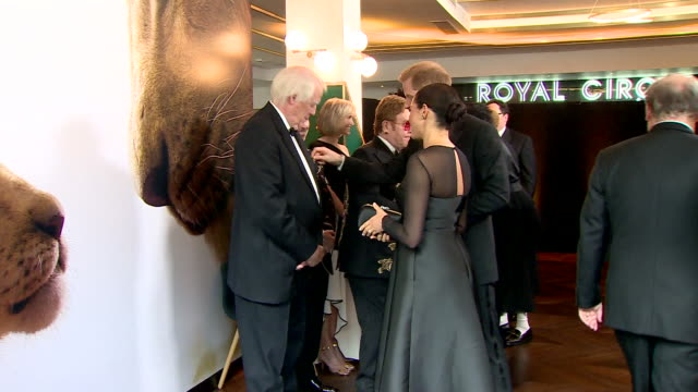 vídeos de stock e filmes b-roll de interior shots of harry duke of sussex and meghan duchess of sussex talking to lyricist sir tim rice at the european premiere of the lion king at... - meghan markle lion king