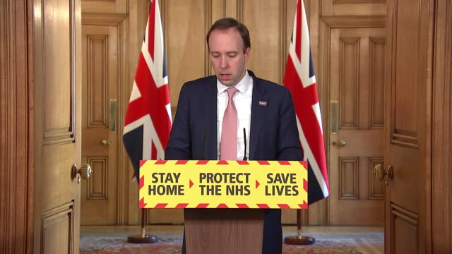 interior shots of health secretary matt hancock delivering the government's daily press briefing on coronavirus on 21 april 2020 in london united... - routine stock videos & royalty-free footage