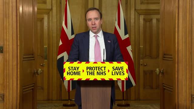 GBR: Health Secretary Matt Hancock delivers Downing Street press conference
