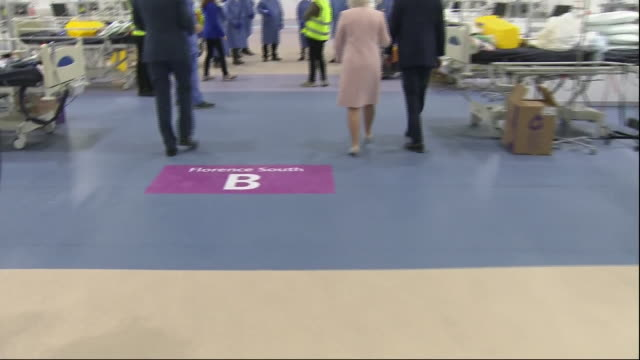 interior shots of health secretary matt hancock mp looking around the new nhs nightingale hospital in the excel centre for its launch on 3 march 2020... - nightingale stock videos & royalty-free footage