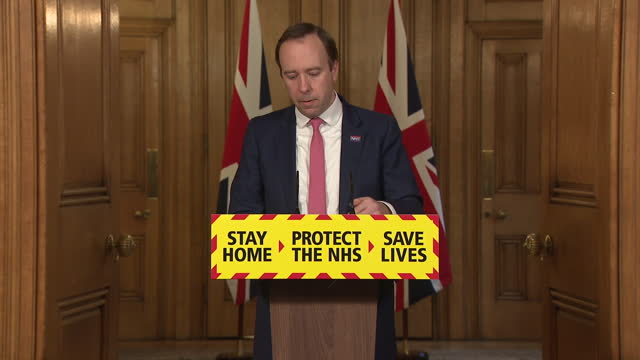 GBR: Health Secretary Matt Hancock at Downing Street coronavirus press briefing