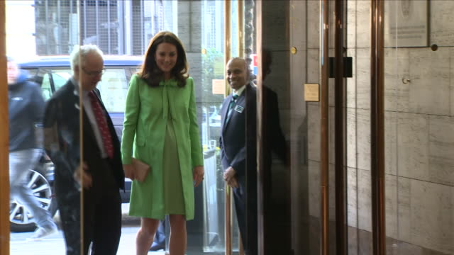 interior shots of heavily pregnant catherine the duchess of cambridge wearing green arriving at the royal society of medicine and meeting officials... - kate middleton stock videos & royalty-free footage