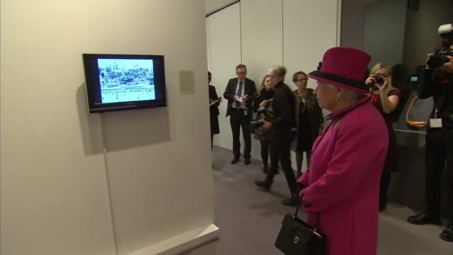 Interior shots of Her Majesty the Queen walking around the exhibition 'Fiji Art Life in the Pacific' on January 27 2017 in Norwich England