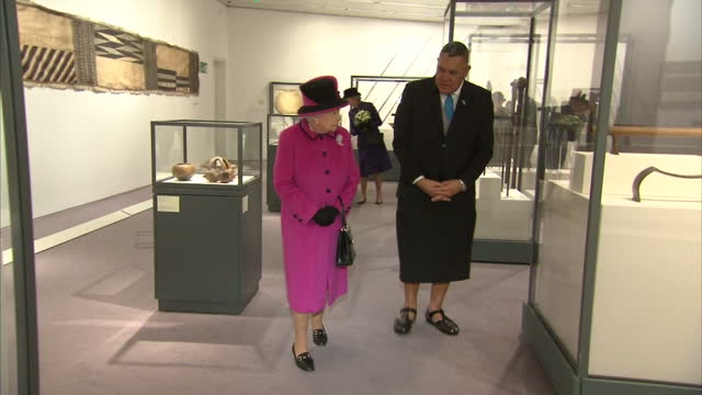 Interior shots of Her Majesty the Queen walking around the exhibition 'Fiji Art Life in the Pacific' meets and greets people on January 27 2017 in...
