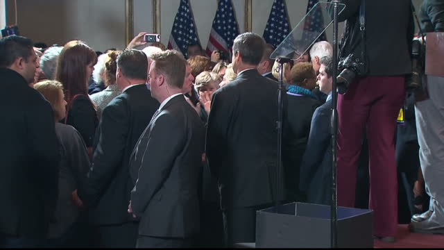 interior shots of hillary and bill clinton speaking to supporters at a press conference at the wyndham new yorker hotel on the day after her election... - politische partei stock-videos und b-roll-filmmaterial