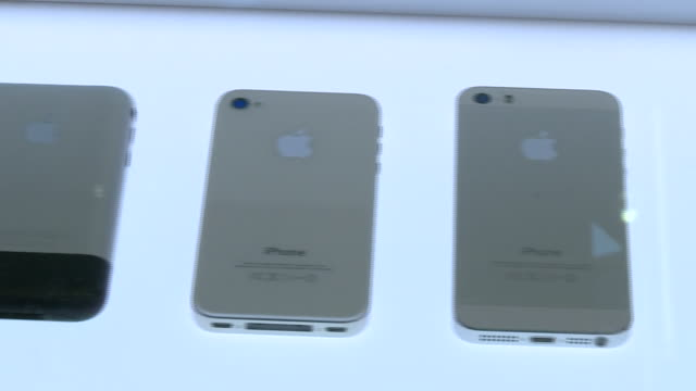 interior shots of historic and modern apple iphone models on a display of apple products in the design museum on 28 june 2019 in london united kingdom - apple computers stock videos & royalty-free footage