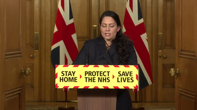 GBR: Home Secretary Priti Patel hosts Downing Street coronavirus press conference