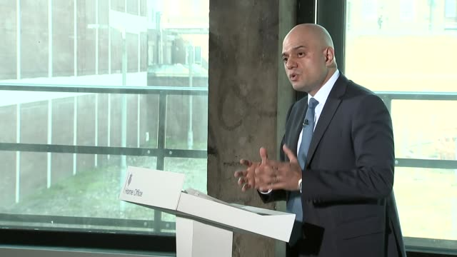 interior shots of home secretary sajid javid mp at podium making a speech on youth violence and crime cutaways on 15 april 2019 in london united... - sajid javid stock videos & royalty-free footage