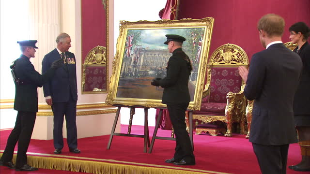 Interior shots of HRH Prince Charles and Prince Harry at a medal presentation for The Royal Gurkha Rifles Prince Charles unveils a painting and makes...