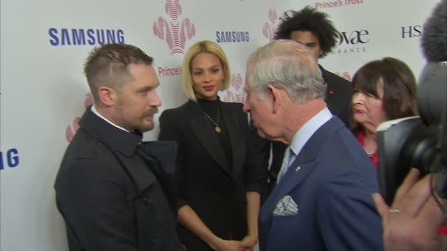 Interior shots of HRH Prince Charles Prince of Wales meeting actor Tom Hardy at the Prince's Trust's Celebrate Success Awards on March 07 2016 in...