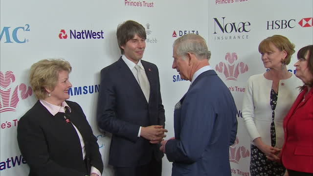 interior shots of hrh prince charles, prince of wales speaking to celebrities including magician dynamo, actress samantha bond, scientist brian cox,... - kevin whately stock videos & royalty-free footage