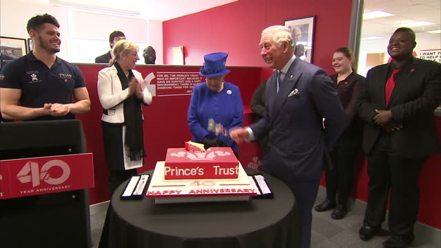 Interior shots of HRH Queen Elizabeth II Prince Charles Prince of Wales cutting a cake to mark the 40th anniversary of the Prince's Trust at The...