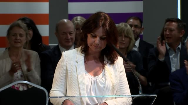 interior shots of interim change uk leader heidi allen making a speech at the party's eu election campaign launch on 23 april 2019 in bristol united... - heidi allen stock videos & royalty-free footage