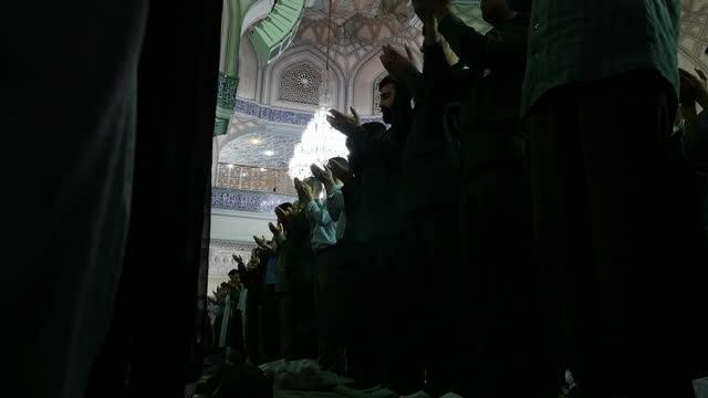 Interior shots of Iranian men in a conservative Tehran mosque at prayer on July 29 2016 in Tehran Iran