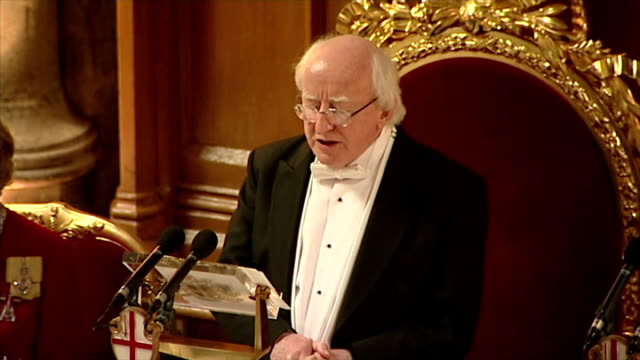clean interior shots of irish president michael d higgins making a speech at banquet hosted by queen elizabeth ii on april 09 2014 in london england - michael d. higgins stock videos and b-roll footage