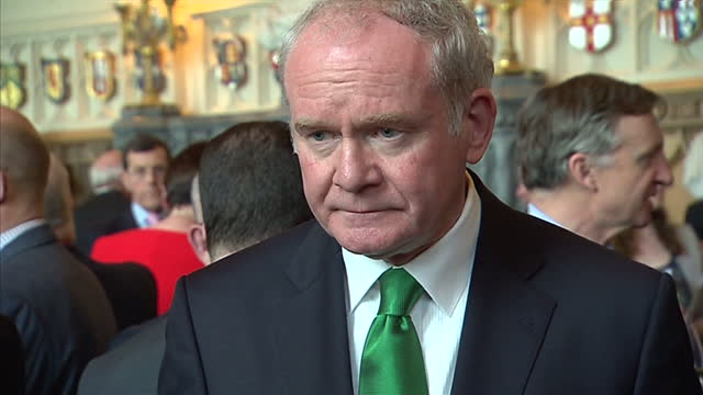 interior shots of irish president michael d higgins meeting first minister of northern ireland peter robinson and deputy first minister martin... - michael d. higgins stock videos and b-roll footage