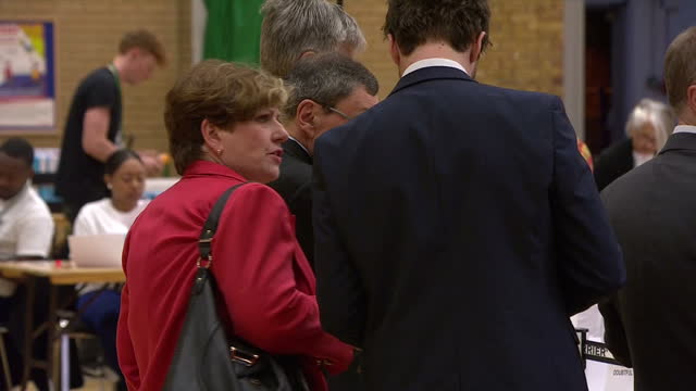 Interior shots of Islington South Labour candidate Emily Thornberry at Islington Leisure Centre for the Islington vote count