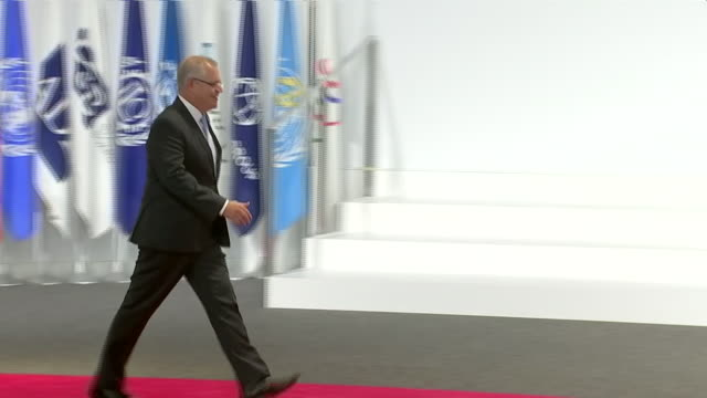 interior shots of japanese prime minister shinzo abe shaking hands with australian prime minister scott morrison at the g20 summit on 28 june 2019 in... - prime minister stock videos & royalty-free footage