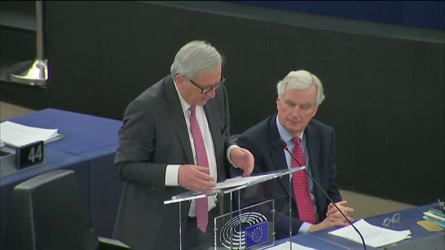 interior shots of jean-claude juncker giving speech in the european union parliament on april 04, 2017 in strasbourg, france. - parliament building stock videos & royalty-free footage