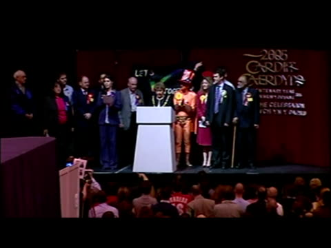 interior shots of jenny willott lib dems being declared as the winner of the cardiff seat at the 2005 election jenny willott wins cardiff seat on may... - british liberal democratic party stock videos & royalty-free footage