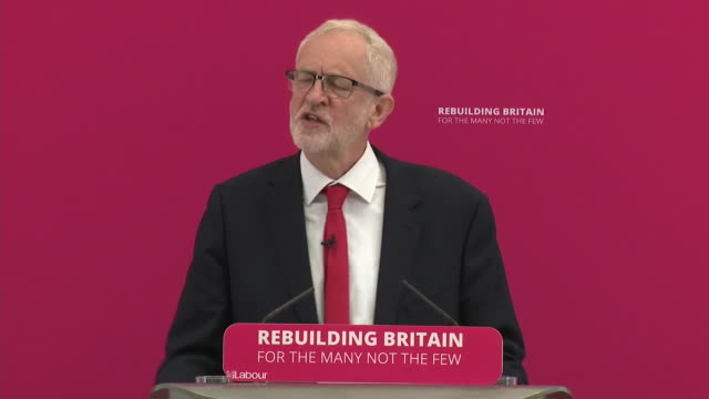 interior shots of jeremy corbyn delivering his speech on 19 august 2019 in corby northamptonshire united kingdom - jeremy corbyn stock videos and b-roll footage