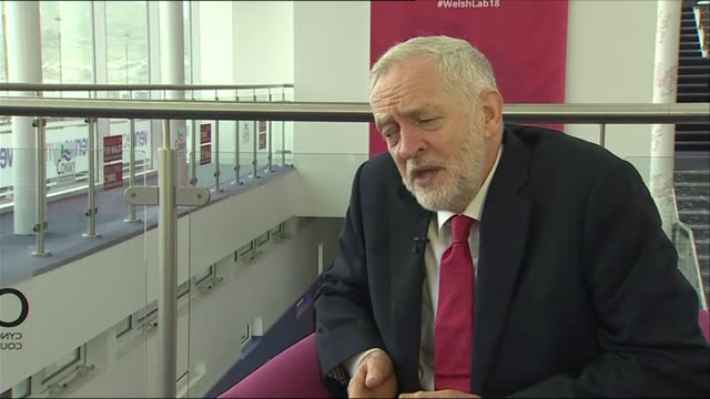Interior shots of Jeremy Corbyn Leader of the Labour Party in the UK commenting on the Windrush scandal on 22 April 2018 in Llandudno Wales