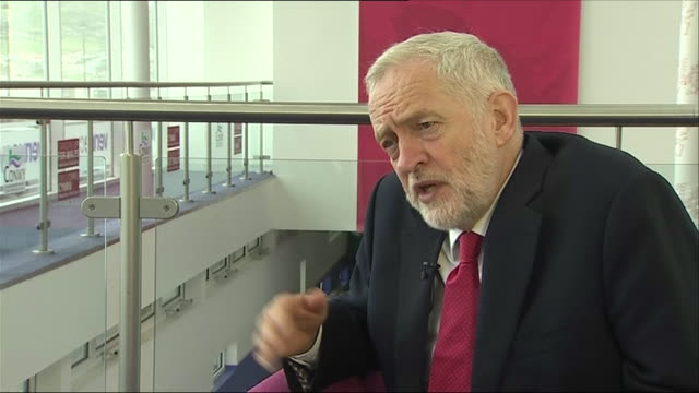 Interior shots of Jeremy Corbyn Leader of the Labour Party in the UK commenting on Carwyn Jones the First Minister of Wales stepping down on 22 April...