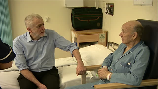Interior shots of Jeremy Corbyn meeting hospital patients and speaking to staff on a ward during a visit to the George Eliot Hospital>> on November...