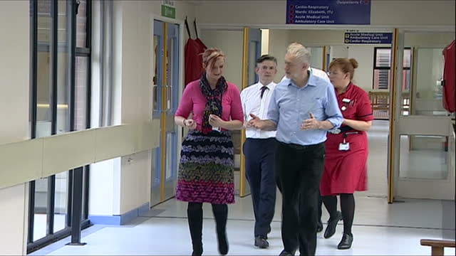 Interior shots of Jeremy Corbyn visiting the George Eliot Hospital and speaking to members of hospital staff>> on November 24 2016 in Nuneaton England